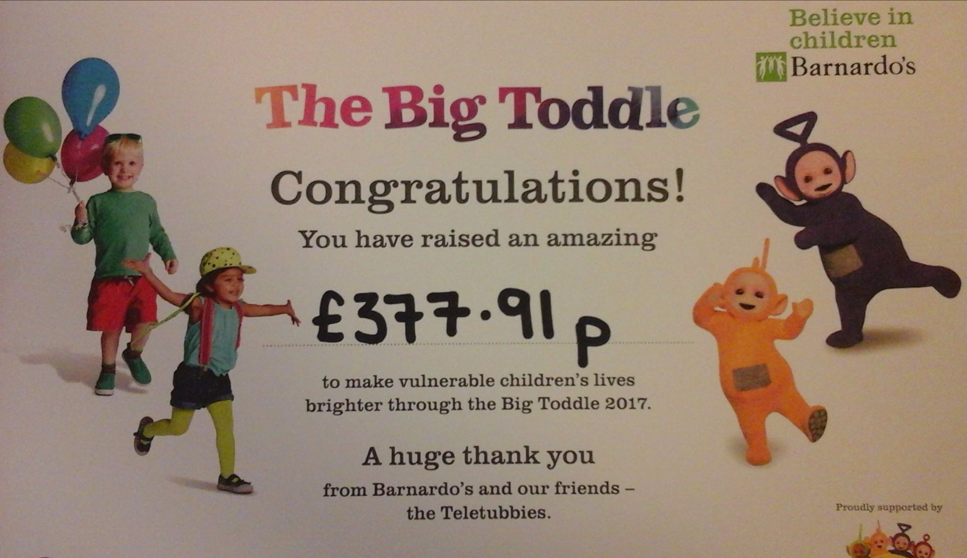 Kids 1st Quorum Big Toddle grand total!