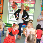 Faye Tozer taking part in the dancethon at Kids 1st Wynyard