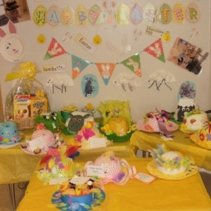 The Easter bonnet display at Kids 1st Rake Lane