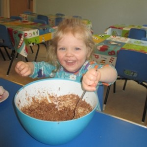 Making chocolate nests at Kids 1st Durham